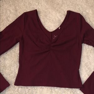 Pacsun Burgundy Crop Long Sleeve Sexy V-Neck